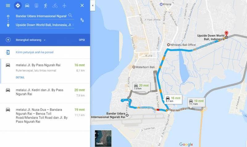 bagi anda yang memilih rute dari bandar udara internasional ngurah rai menuju ke upside down world bali sekitar 81 km dengan waktu tempuh 16 menit