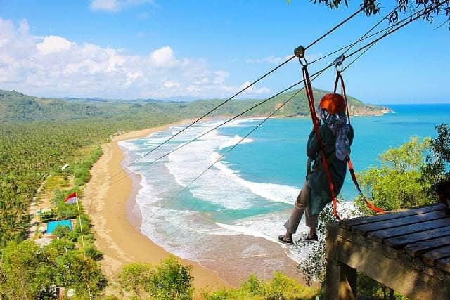 Image result for flying fox pantai taman pacitan