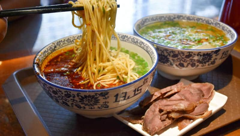 china lanzhou beef stretched noodles