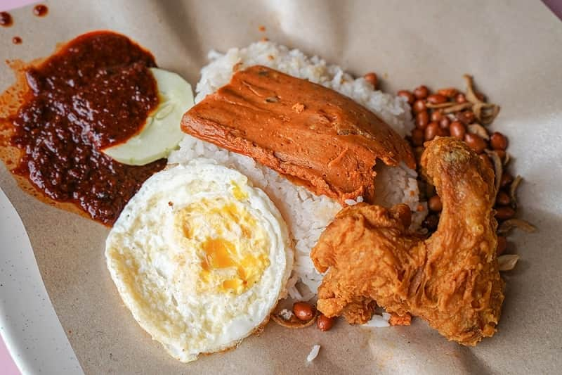 Nasi lemak terkenal  di Singapura